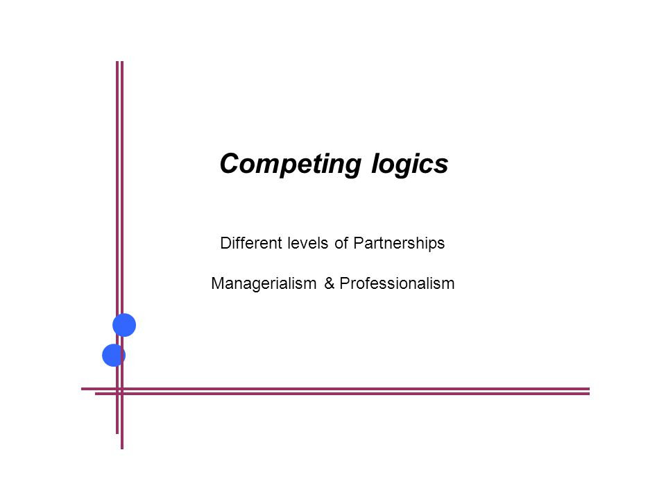 Competing logics Different levels of Partnerships Managerialism & Professionalism
