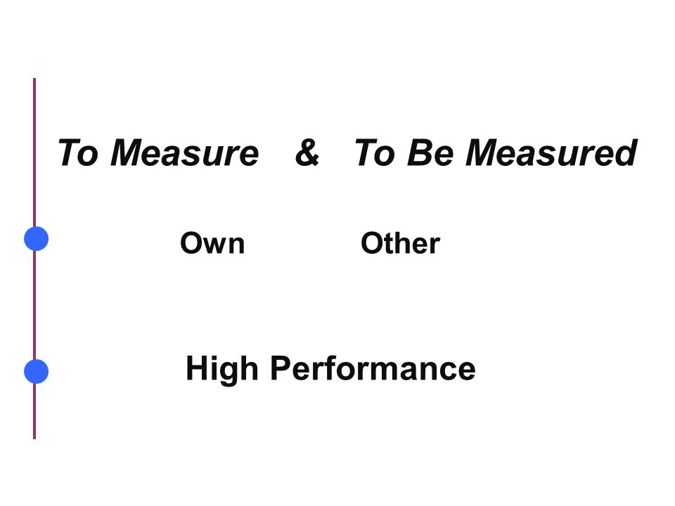 To Measure & To Be Measured OwnOther High Performance