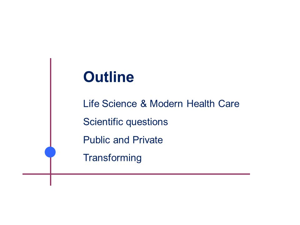 Outline Life Science & Modern Health Care Scientific questions Public and Private Transforming