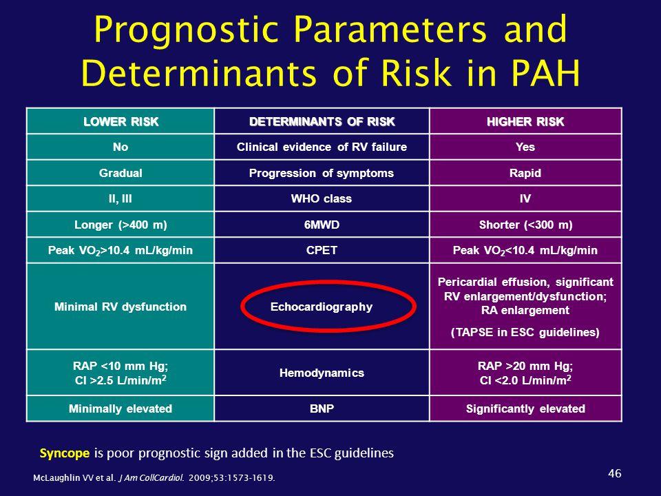 Prognostic Parameters and Determinants of Risk in PAH 46 LOWER RISK DETERMINANTS OF RISK HIGHER RISK NoClinical evidence of RV failureYes GradualProgr