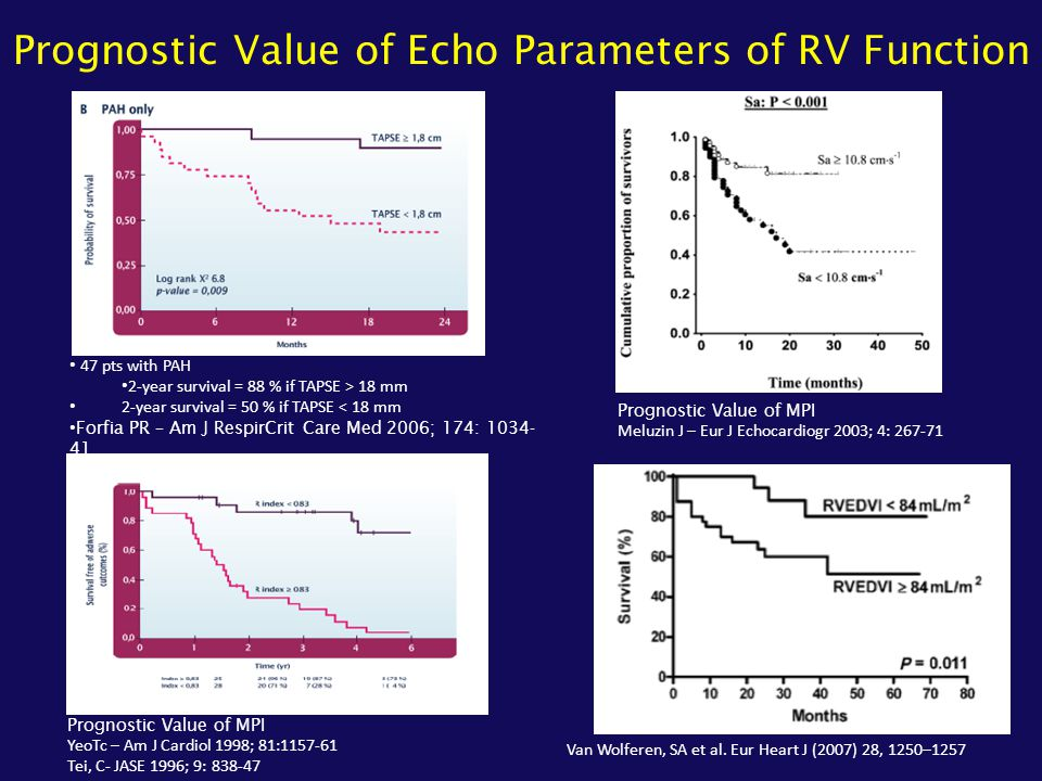 Prognostic Value of Echo Parameters of RV Function 47 pts with PAH 2-year survival = 88 % if TAPSE > 18 mm 2-year survival = 50 % if TAPSE < 18 mm For