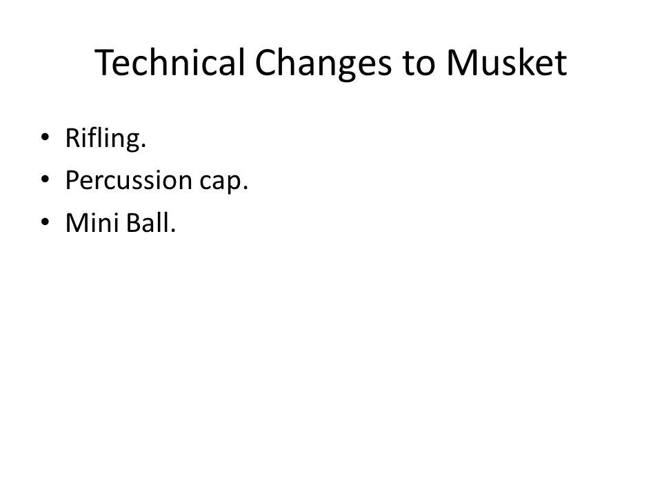 Technical Changes to Musket Rifling. Percussion cap. Mini Ball.