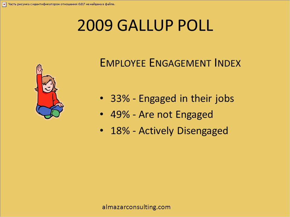 2009 GALLUP POLL E MPLOYEE E NGAGEMENT I NDEX 33% - Engaged in their jobs 49% - Are not Engaged 18% - Actively Disengaged almazarconsulting.com