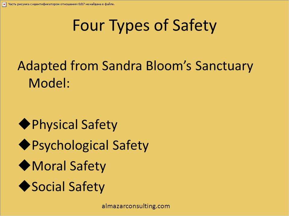 Four Types of Safety Adapted from Sandra Bloom's Sanctuary Model:  Physical Safety  Psychological Safety  Moral Safety  Social Safety almazarconsu
