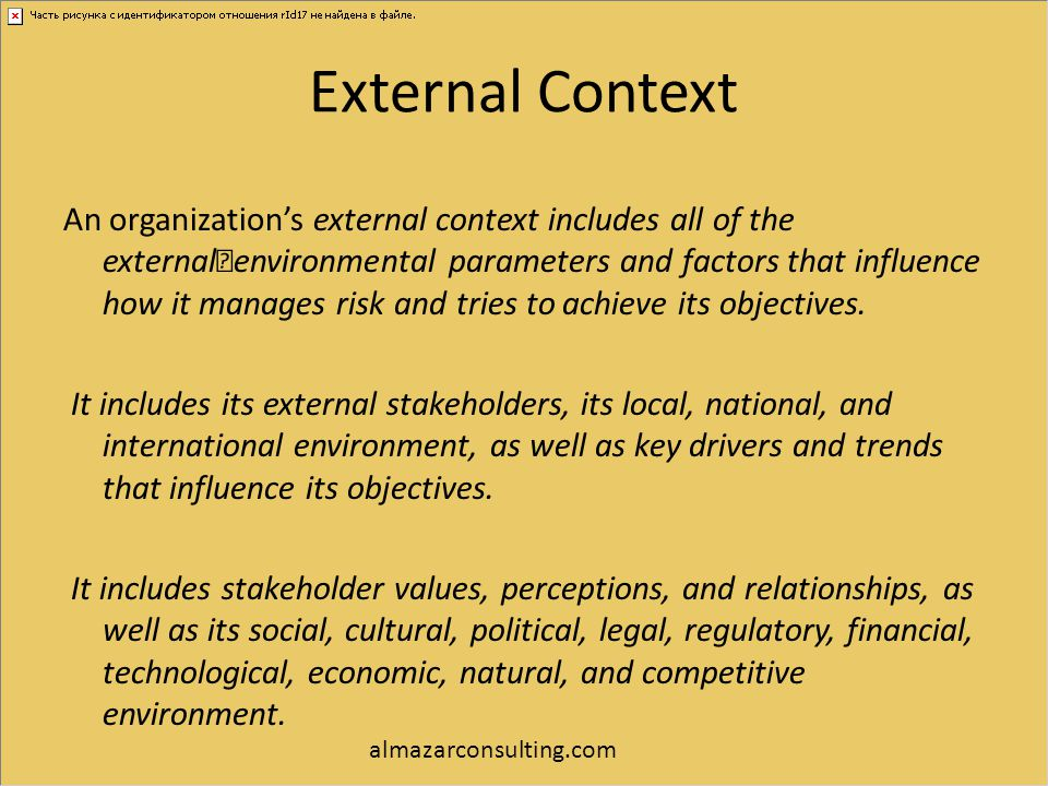 External Context An organization's external context includes all of the external environmental parameters and factors that influence how it manages ri