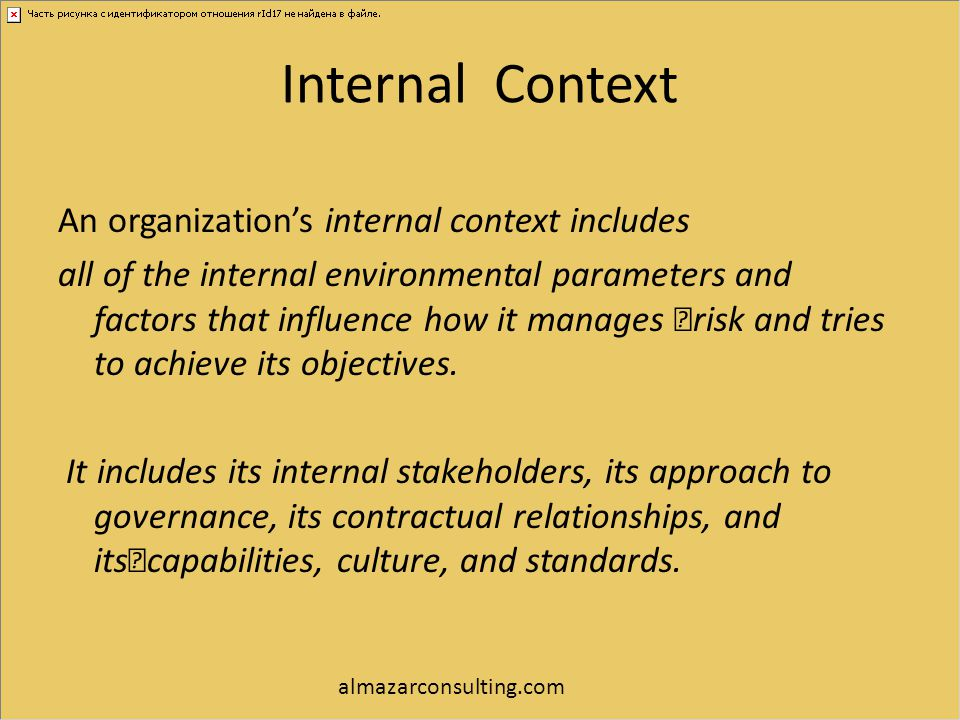 Internal Context An organization's internal context includes all of the internal environmental parameters and factors that influence how it manages ri