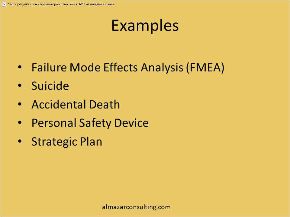Examples Failure Mode Effects Analysis (FMEA) Suicide Accidental Death Personal Safety Device Strategic Plan almazarconsulting.com