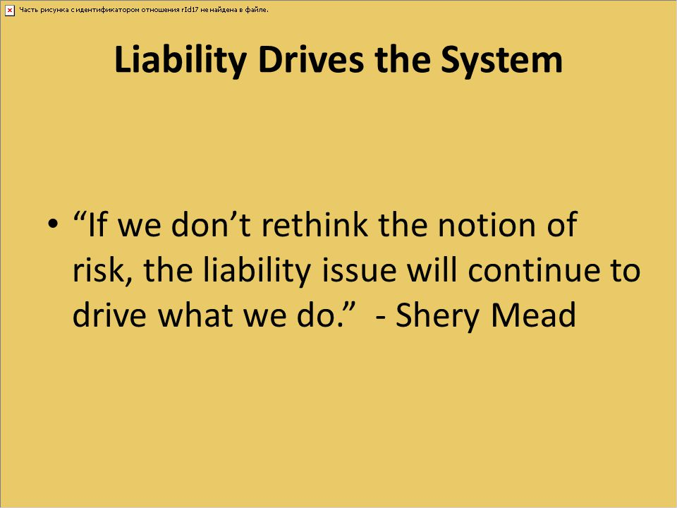 "Liability Drives the System ""If we don't rethink the notion of risk, the liability issue will continue to drive what we do."" - Shery Mead"