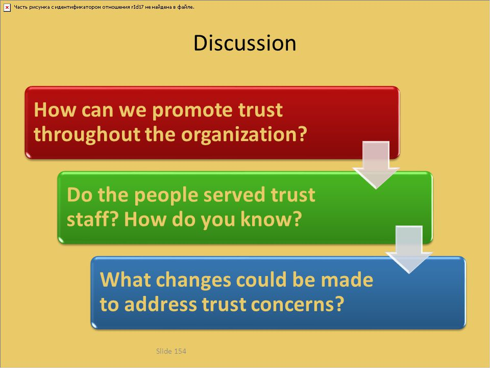 Discussion How can we promote trust throughout the organization? Do the people served trust staff? How do you know? What changes could be made to addr