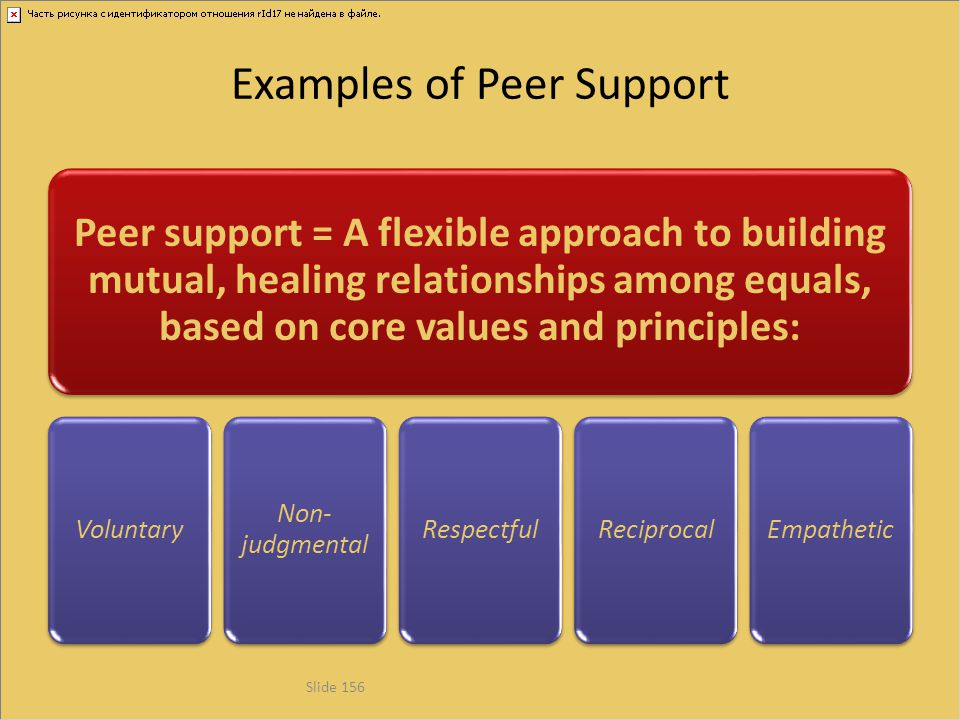Examples of Peer Support Peer support = A flexible approach to building mutual, healing relationships among equals, based on core values and principle
