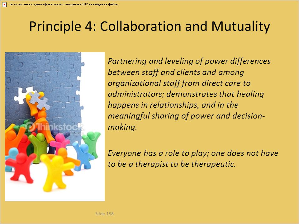Principle 4: Collaboration and Mutuality Partnering and leveling of power differences between staff and clients and among organizational staff from di