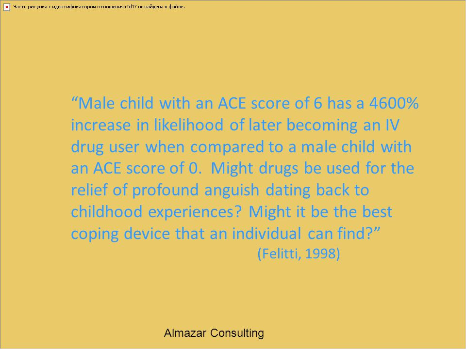"""Male child with an ACE score of 6 has a 4600% increase in likelihood of later becoming an IV drug user when compared to a male child with an ACE scor"