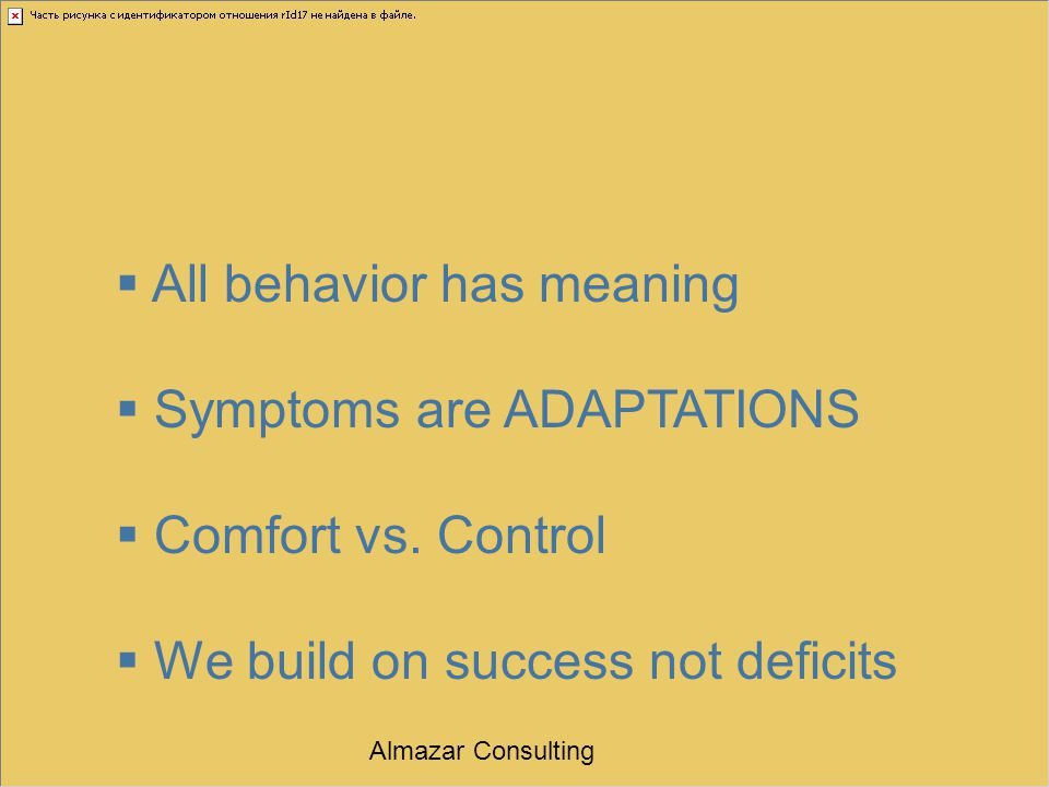  All behavior has meaning  Symptoms are ADAPTATIONS  Comfort vs. Control  We build on success not deficits Almazar Consulting