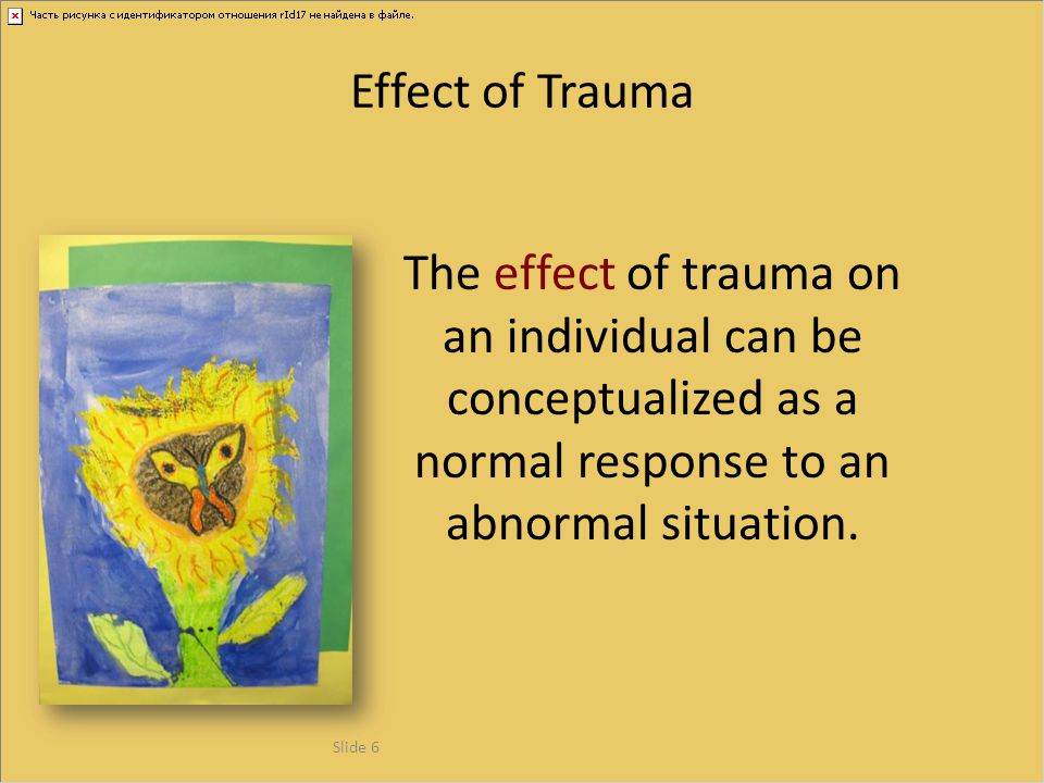 Severe and persistent emotional problems Health risk behaviors Serious social problems Adult disease and disability High health and mental health care costs Poor life expectancy For example: The following information and slides are from September 2003 Presentation at Snowbird Conference of the Child Trauma Treatment Network of the Intermountain West, by Vincent J.