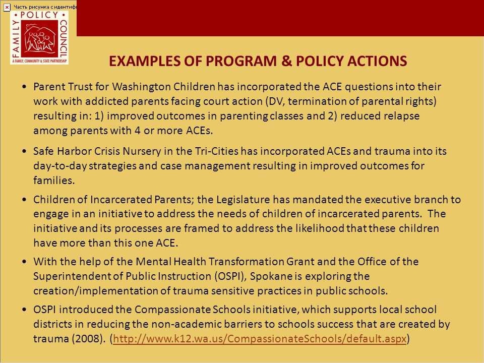 EXAMPLES OF PROGRAM & POLICY ACTIONS Safe Harbor Crisis Nursery in the Tri-Cities has incorporated ACEs and trauma into its day-to-day strategies and