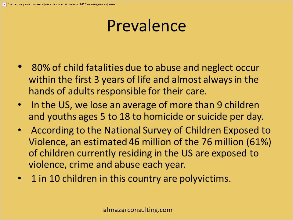 Prevalence 80% of child fatalities due to abuse and neglect occur within the first 3 years of life and almost always in the hands of adults responsibl