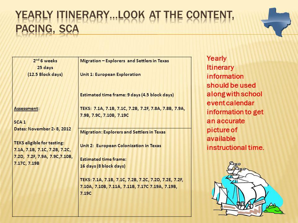 2 nd 6 weeks 25 days (12.5 Block days) Assessment: SCA 1 Dates: November 2- 8, 2012 TEKS eligible for testing: 7.1A, 7.1B, 7.1C, 7.2B, 7.2C, 7.2D, 7.2