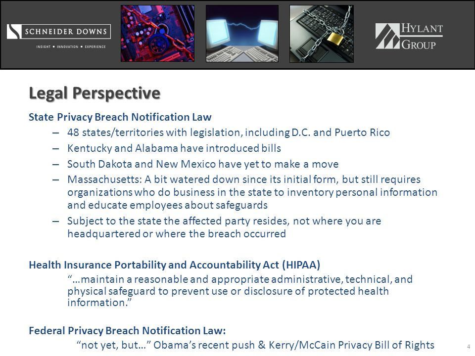 4 Legal Perspective State Privacy Breach Notification Law – 48 states/territories with legislation, including D.C.