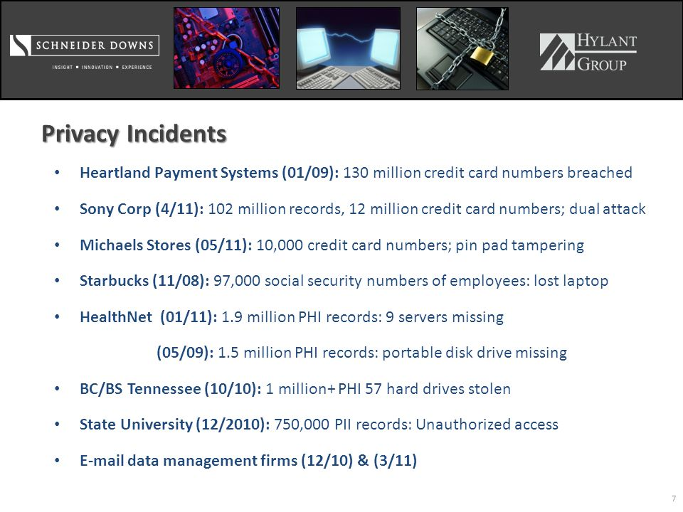 7 Privacy Incidents Heartland Payment Systems (01/09): 130 million credit card numbers breached Sony Corp (4/11): 102 million records, 12 million credit card numbers; dual attack Michaels Stores (05/11): 10,000 credit card numbers; pin pad tampering Starbucks (11/08): 97,000 social security numbers of employees: lost laptop HealthNet (01/11): 1.9 million PHI records: 9 servers missing (05/09): 1.5 million PHI records: portable disk drive missing BC/BS Tennessee (10/10): 1 million+ PHI 57 hard drives stolen State University (12/2010): 750,000 PII records: Unauthorized access E-mail data management firms (12/10) & (3/11)