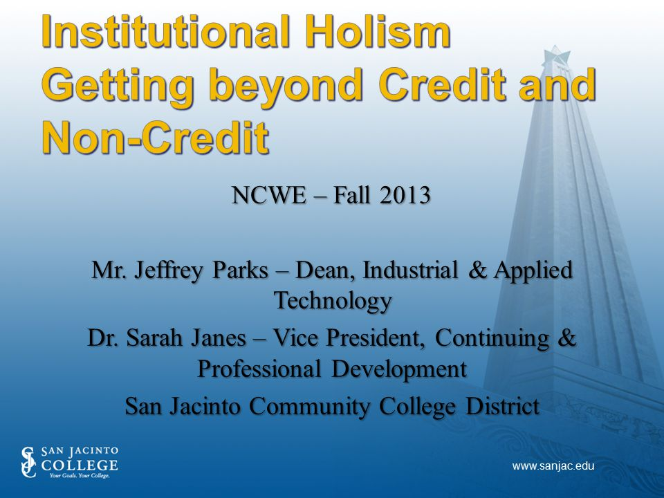 NCWE – Fall 2013 Mr. Jeffrey Parks – Dean, Industrial & Applied Technology Dr.
