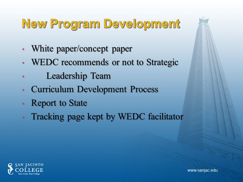 White paper/concept paper White paper/concept paper WEDC recommends or not to Strategic WEDC recommends or not to Strategic Leadership Team Leadership Team Curriculum Development Process Curriculum Development Process Report to State Report to State Tracking page kept by WEDC facilitator Tracking page kept by WEDC facilitator www.sanjac.edu