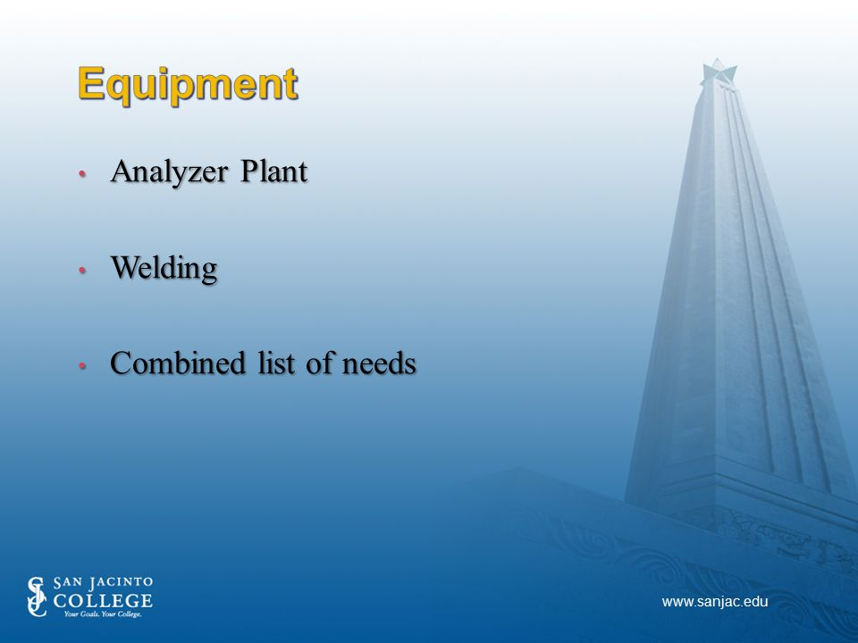 Analyzer Plant Analyzer Plant Welding Welding Combined list of needs Combined list of needs www.sanjac.edu