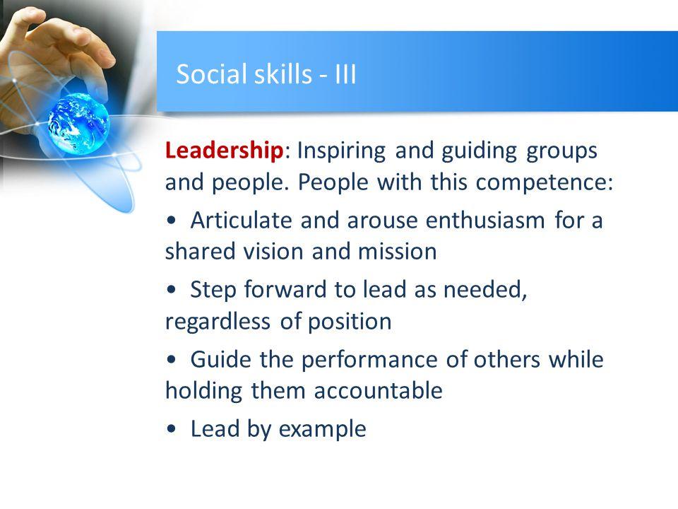 Social skills - III Leadership: Inspiring and guiding groups and people.