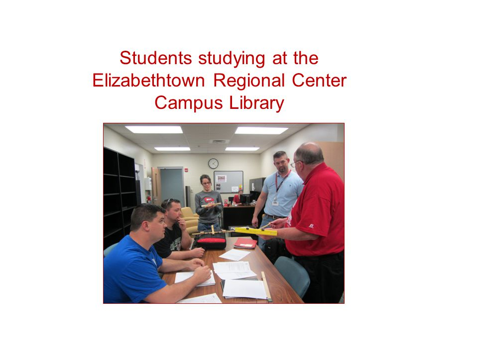 Students studying at the Elizabethtown Regional Center Campus Library