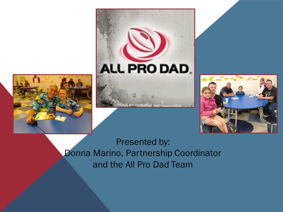 Presented by: Donna Marino, Partnership Coordinator and the All Pro Dad Team