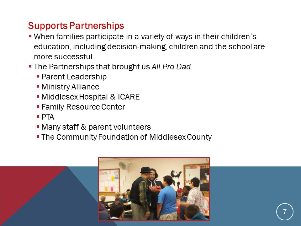 Supports Partnerships  When families participate in a variety of ways in their children's education, including decision-making, children and the school are more successful.