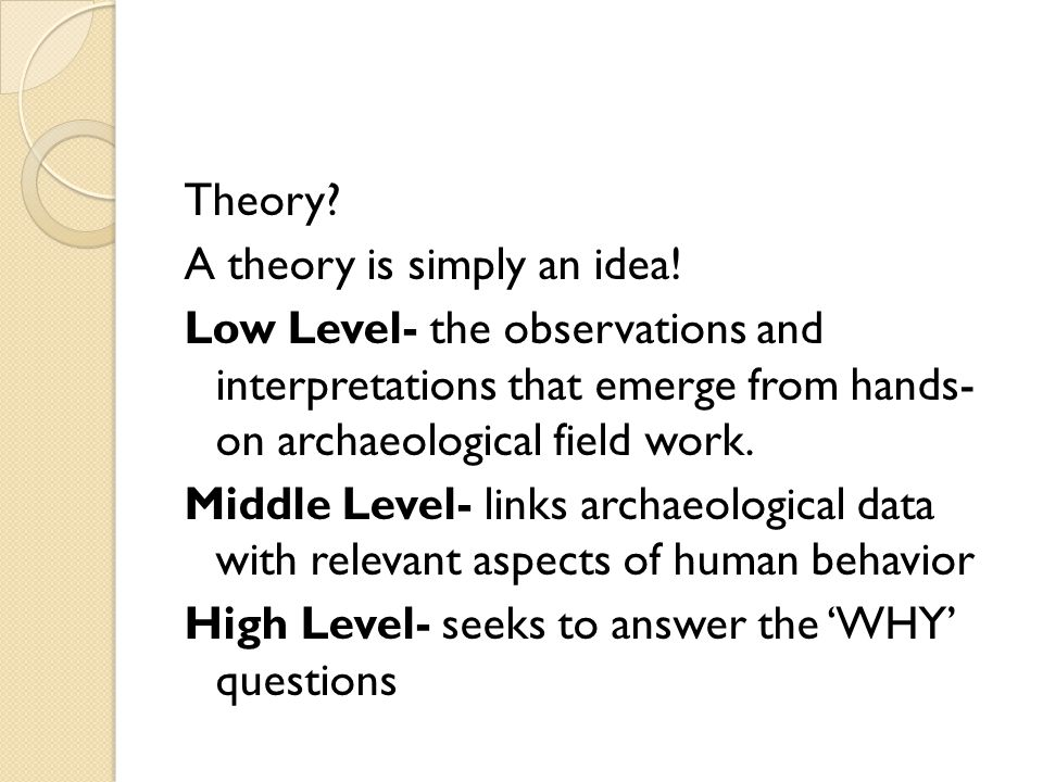 Theory. A theory is simply an idea.