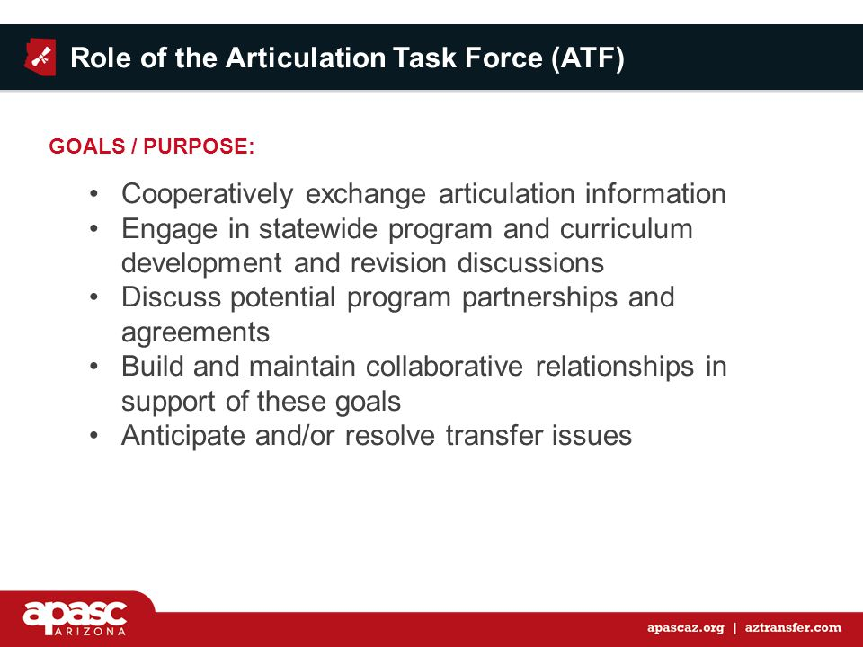 Role of the Articulation Task Force (ATF) Cooperatively exchange articulation information Engage in statewide program and curriculum development and revision discussions Discuss potential program partnerships and agreements Build and maintain collaborative relationships in support of these goals Anticipate and/or resolve transfer issues GOALS / PURPOSE: