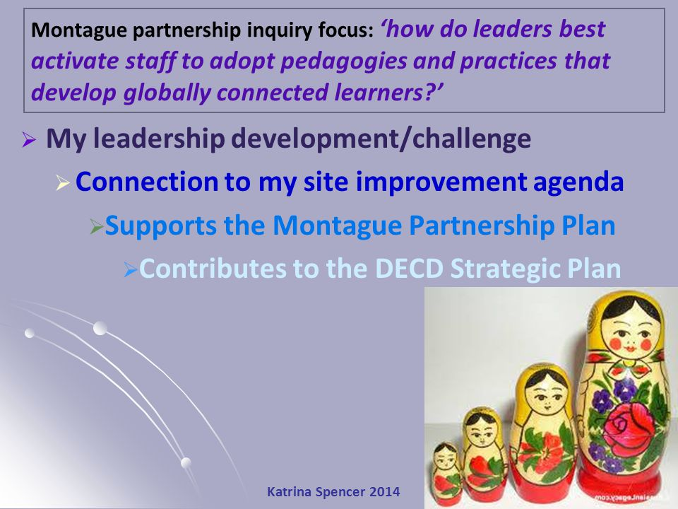 Katrina Spencer 2014  My leadership development/challenge  Connection to my site improvement agenda  Supports the Montague Partnership Plan  Contributes to the DECD Strategic Plan Montague partnership inquiry focus: 'how do leaders best activate staff to adopt pedagogies and practices that develop globally connected learners?'
