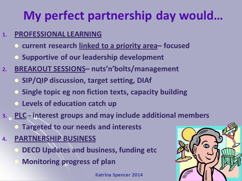 Katrina Spencer 2014 My perfect partnership day would… 1. PROFESSIONAL LEARNING current research linked to a priority area– focused Supportive of our