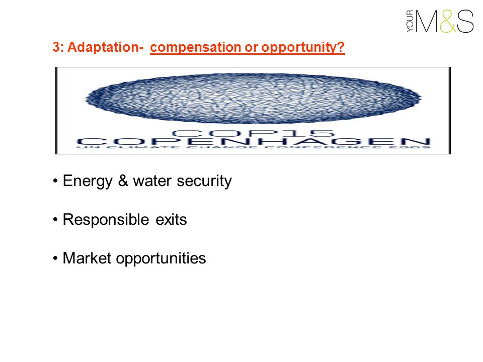 Energy & water security Responsible exits Market opportunities 3: Adaptation- compensation or opportunity?