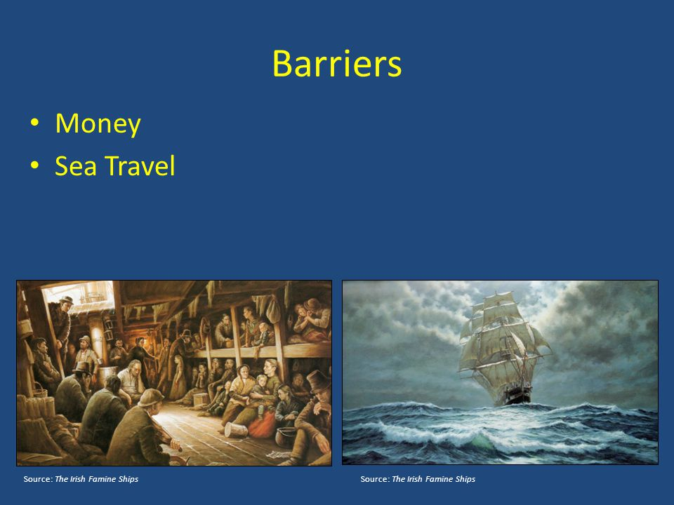 Barriers Money Sea Travel Source: The Irish Famine ShipsSource: The Irish Famine Ships