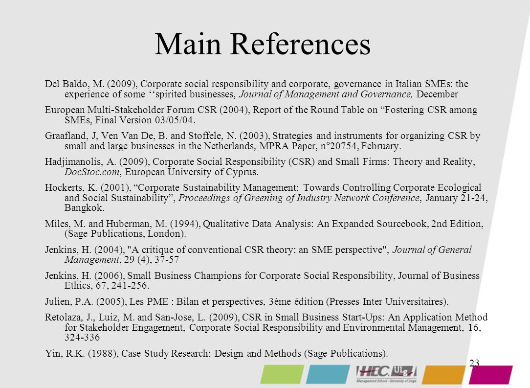 23 Main References Del Baldo, M.