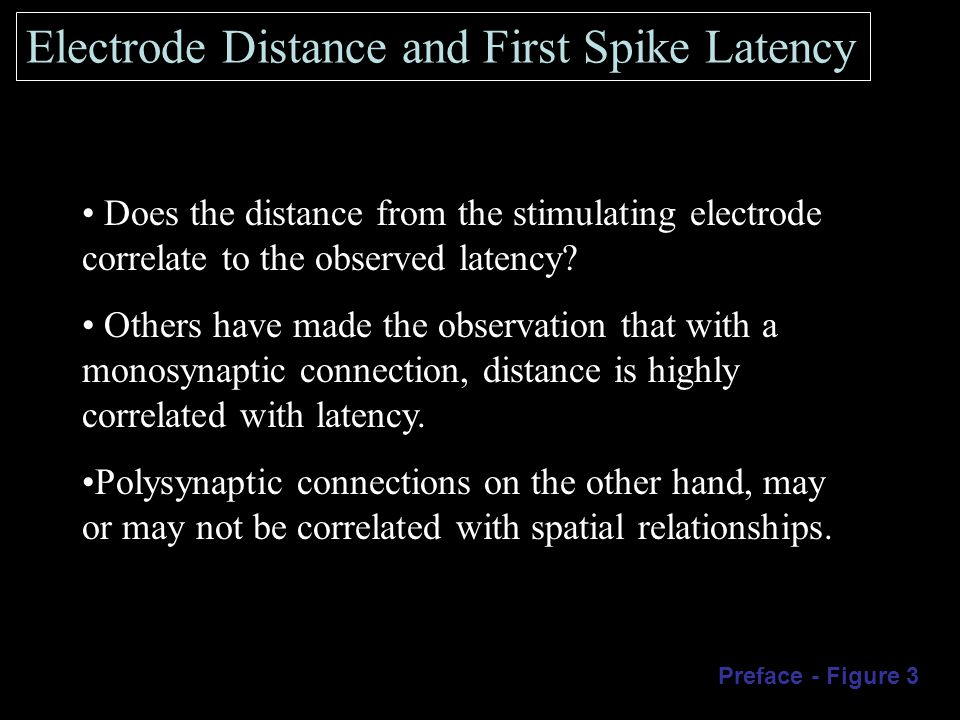 Electrode Distance and First Spike Latency Does the distance from the stimulating electrode correlate to the observed latency.