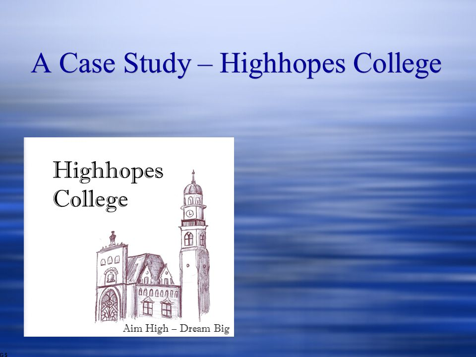 A Case Study – Highhopes College GS Highhopes College Aim High – Dream Big
