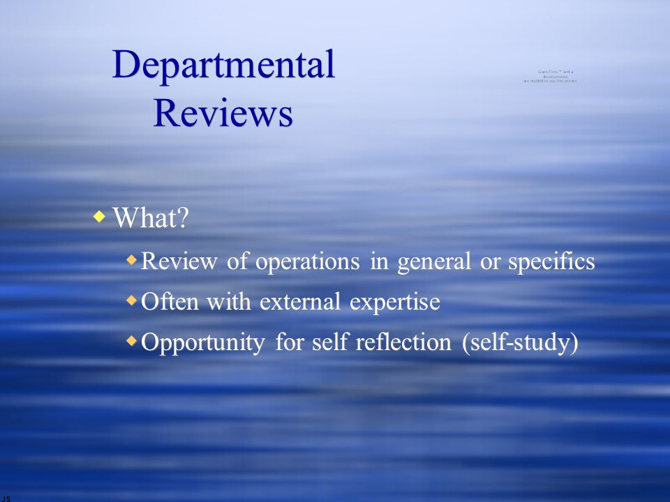 Departmental Reviews  What.