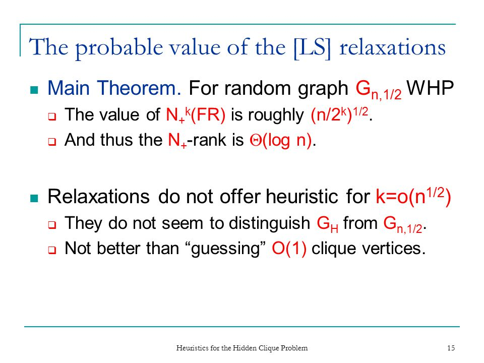 Heuristics for the Hidden Clique Problem 16 The upper bound The [LS'91] proof that N + -rank ·  (G) shows:  Each application of N + is at least as strong as guessing one vertex in the stable set.