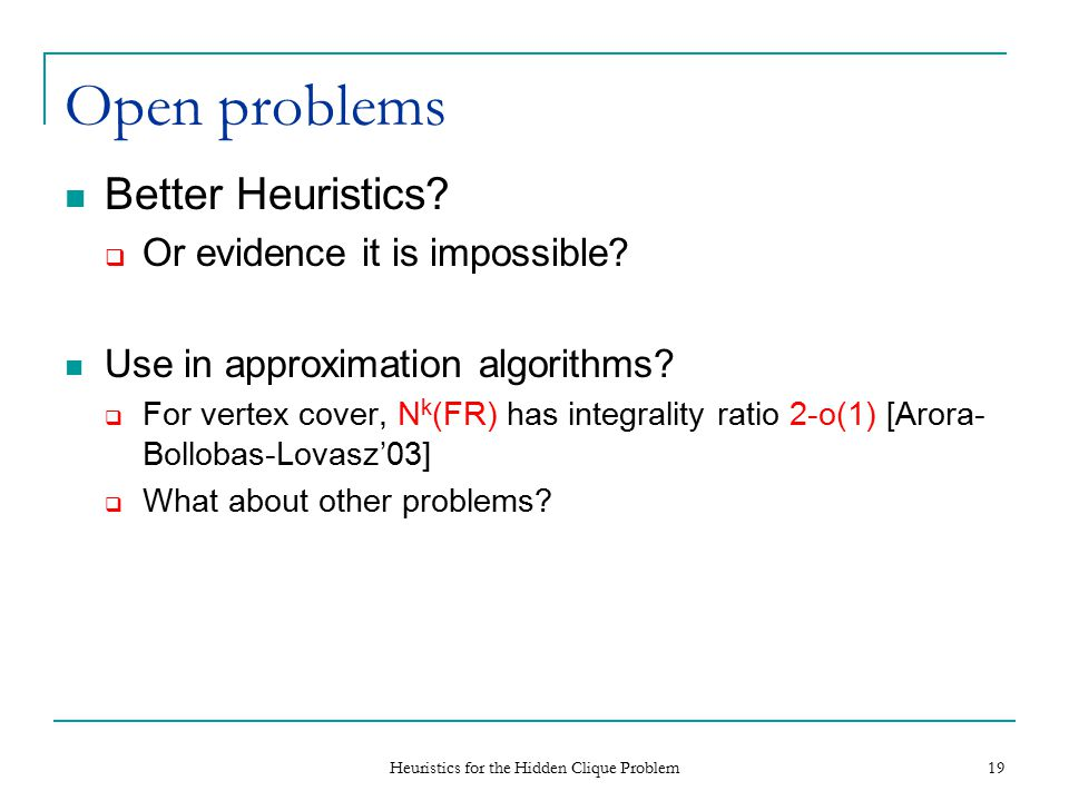 Heuristics for the Hidden Clique Problem 19 Open problems Better Heuristics.