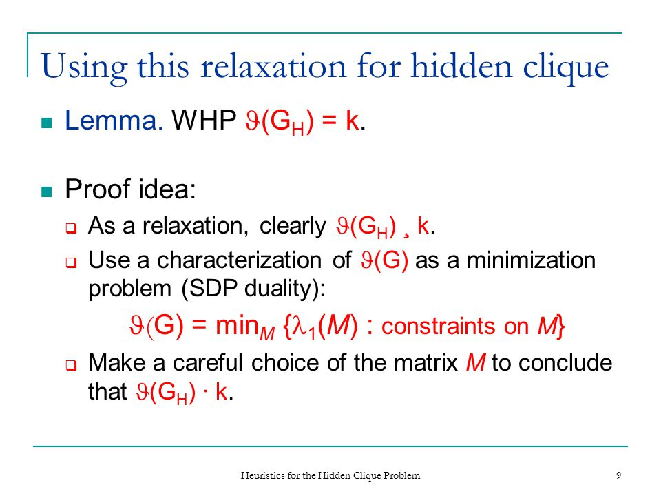 Heuristics for the Hidden Clique Problem 9 Using this relaxation for hidden clique Lemma.
