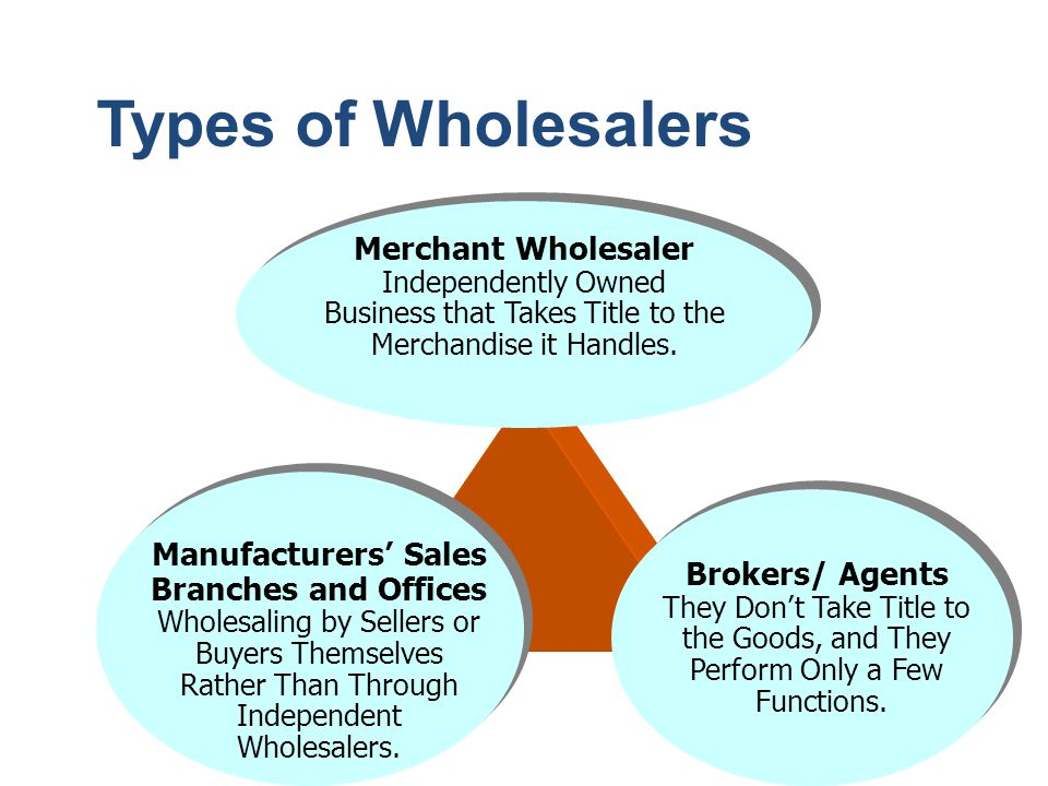 Types of Wholesalers Manufacturers' Sales Branches and Offices Wholesaling by Sellers or Buyers Themselves Rather Than Through Independent Wholesalers