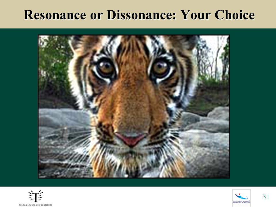 31 Resonance or Dissonance: Your Choice