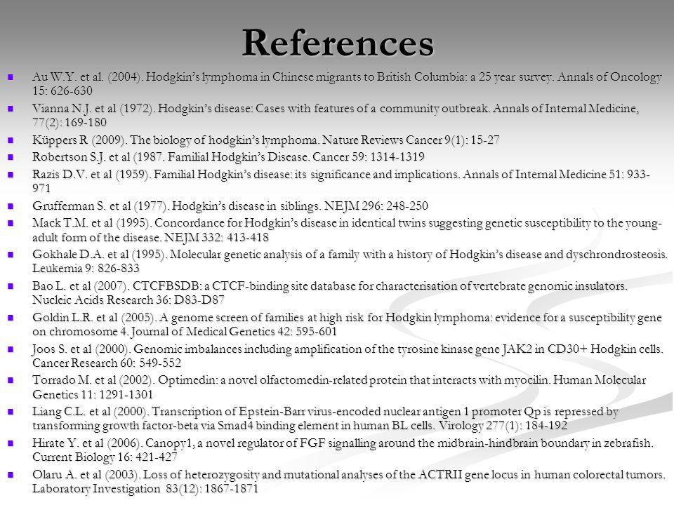 References Au W.Y. et al. (2004).