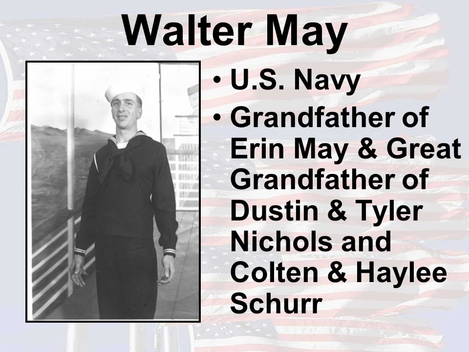 Walter May U.S. Navy Grandfather of Erin May & Great Grandfather of Dustin & Tyler Nichols and Colten & Haylee Schurr