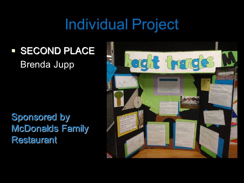 Individual Project  SECOND PLACE Brenda Jupp Sponsored by McDonalds Family Restaurant