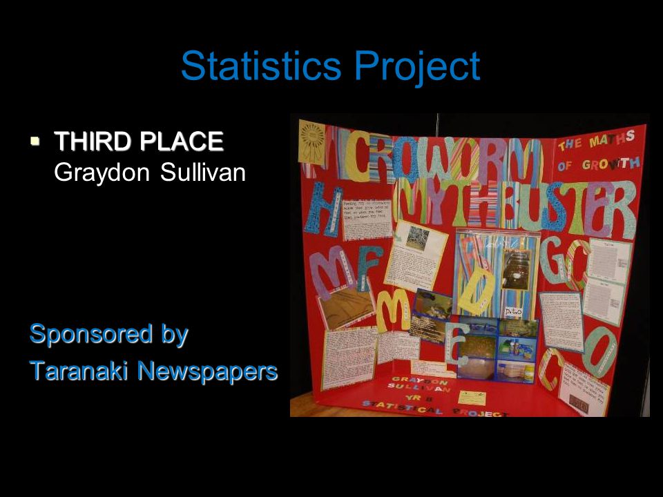 Statistics Project  THIRD PLACE Graydon Sullivan Sponsored by Taranaki Newspapers