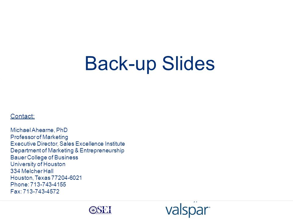 14 Back-up Slides Contact: Michael Ahearne, PhD Professor of Marketing Executive Director, Sales Excellence Institute Department of Marketing & Entrepreneurship Bauer College of Business University of Houston 334 Melcher Hall Houston, Texas 77204-6021 Phone: 713-743-4155 Fax: 713-743-4572